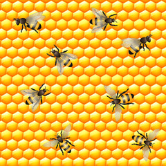 Honey bee seamless pattern