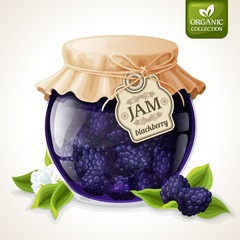 Blackberry jam glass