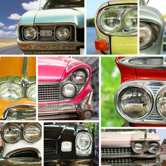Vintage cars, vintage collage, bumper and headlights
