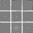 Set of patterns in op art design.