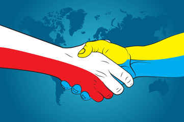 Handshake Poland and Ukraine