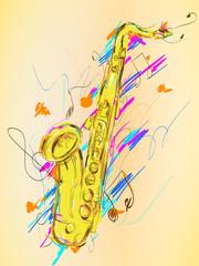 Saxophone Painting Vector Art