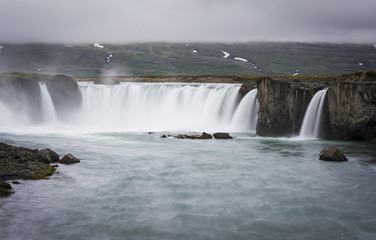 Gorgeous Godafoss waterfalls in Iceland. Slow shutter speed