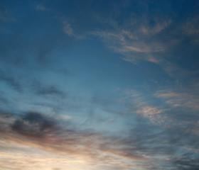 Sunset. Sky over ocean.