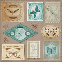 Vector Set: Vintage Post Stamps with butterflies