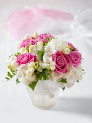 Beautiful wedding bouquet in vase