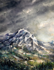 Rain in mountains.Picture created with watercolors.