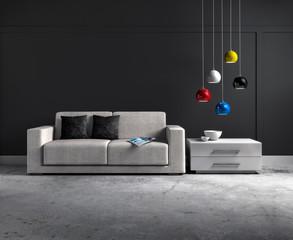 Sofa vor grauer Wand 2