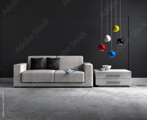 canvas print picture Sofa vor grauer Wand 2