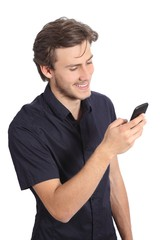 Top view of a handsome man texting on a smart phone