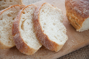 Sliced ciabatta bread on the board