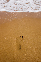 След на песке у моря