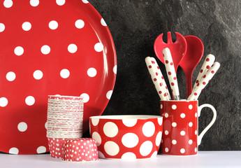 Modern Red and White Polka Dot Kitchen
