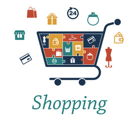 Shopping concept puzzles with a cart and icons