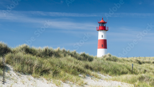 Foto op Aluminium Vuurtoren / Mill Lightouse on dune horizontal