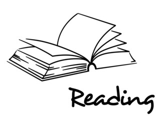 Reading icon with an open book