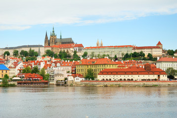 Prague castle and Saint Vitus cathedral view with Vltava river