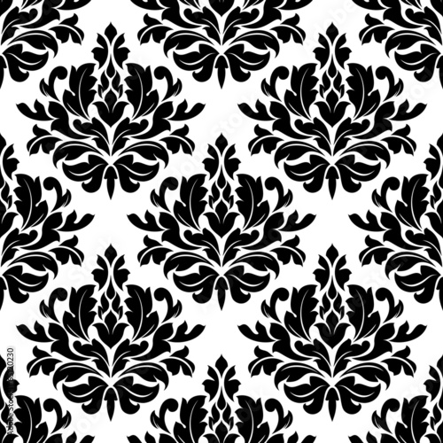 Deurstickers Kunstmatig Retro damask seamless pattern