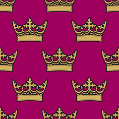 Heraldic seamless pattern with royal crowns