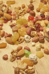 Close up of a mixed of nuts and dry fruits, XXXL