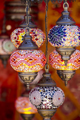 Decorative, Oriental style lamps craft in a bazaar