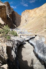Canyon with bridge - view from Zanskar trek