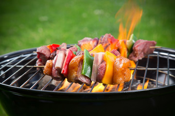 Tasty skewers on the grill.