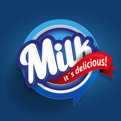 Milk label lettering - vector