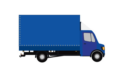 Blue Small truck. Silhouette. Vector Illustration. EPS10.