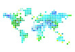 abstract world map, blue and gree dots, vector