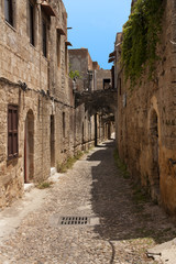 Medieval street of knight. Greece. Rhodos island