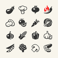 Vegetables vector web icon set
