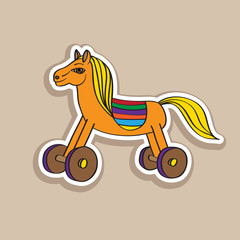 wooden horse sticker