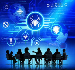 Group of Business People in a Meeting about Virus