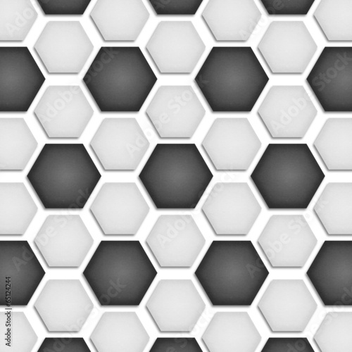 Tuinposter Kunstmatig paper cut of soccer, football texture is black and white hexagon