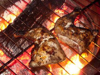 Close up of barbecue chicken