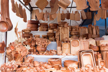 Wooden utensils for sale at a market stall, Mexico City, Mexico