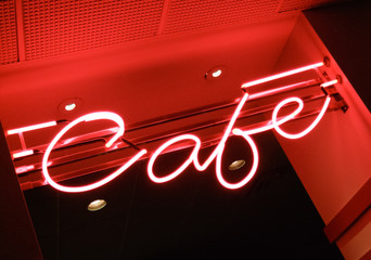 Low angle view of neon sign of a cafe