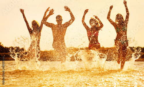 happy people  on beach