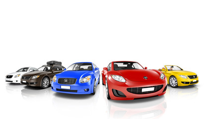 Studio Shot of Colorful Cars in a Row