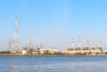 Thermal  Power  Plant beside river side location use for industr