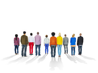 Backsides of Multi-Ethnic People and Copy Space