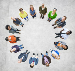 Aerial View of Multiethnic People Forming Circle