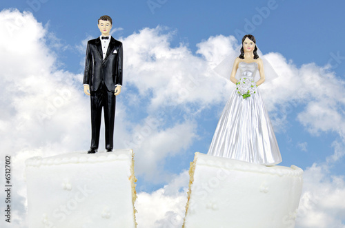 Aluminium Koekjes divorce cake with bride and groom