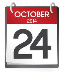 Vector of October 24, 2014 Calendar