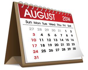 Vector of August 2014 Calendar