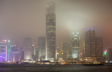Hong Kong Island skyline on a foggy night