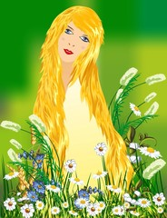 anioł i kwiaty