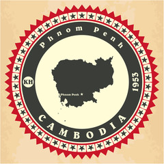 Vintage label-sticker cards of Cambodia