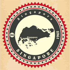 Vintage label-sticker cards of Singapore.